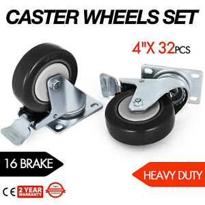 32 Pack 4 Inch Swivel Plate Casters W 16 Brakes Pu Warehouse Carts Rustless