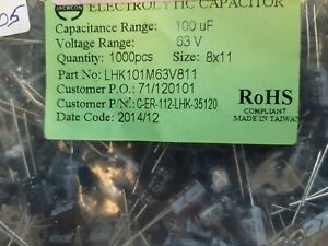 Lot X 100 Lhk101m63v811 Electrolytic Capacitor 100f 63 V Dc 8mm Through Hole