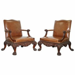 Pair Of Thomas Chippendale Brown Leather Library Armchairs Hand Carved Lions