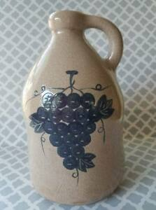 Ceramic Jug With A Crackel Finish And Cobalt Grapes Pattern