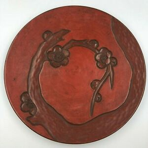 Red Japanese Wooden Lacquer Ware Tree Flower Sculpture Plate Dish W Signed Vtg
