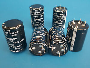 Lot Of 7 Panasonic Aluminum Electrolytic Capacitors Snap In 33000 f 35v 22803