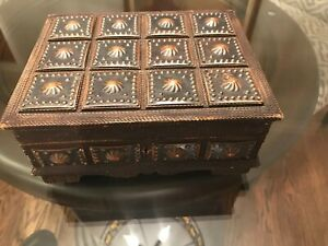 Arts Crafts Chipped Carved Wood Copper Appliqued Mounted Dresser Box