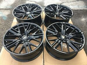 20 Chevy Camaro Zl1 Staggered Gloss Black Wheels Rims Set Of 4 20x8 5 20x9 5