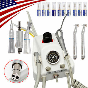 Dental Portable 4 Hole Air Turbine Unit With Low High Speed Handpiece Kit burs