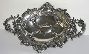 Antique 800 German Silver Footed Handled Tray Ornate Repousse Posen 492 Grams
