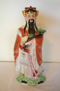 Antique Chinese Immortal Diety Porcelain Famille Rose Statue Lu Xing 14 Euc