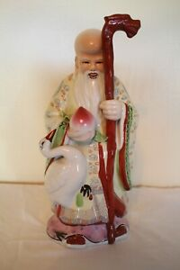 Antique Chinese Immortal Diety Porcelain Famille Rose Statue Shou Xing 13 25