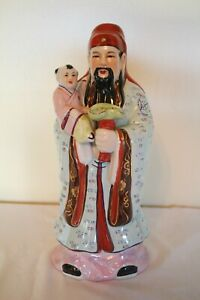 Antique Chinese Immortal Diety Porcelain Famille Rose Statue Fu Xing 13 5 Euc
