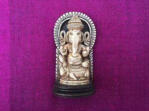 Antique Anglo Indian Carved Statue Of Ganesha Victorian 1880
