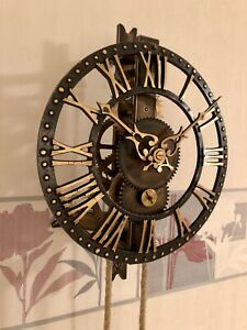 Very Rar Large Old Mechanical Tower Skeleton Wall Clock Turmuhr Skelett Uhr