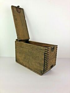 US Military Wood Ammo Dovetail Crate Box WWI WWII Stenciled Bullet Metal Antique