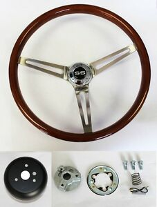 67 68 Chevelle Nova Camaro Impala Wood Steering Wheel High Gloss 15 Ss Center