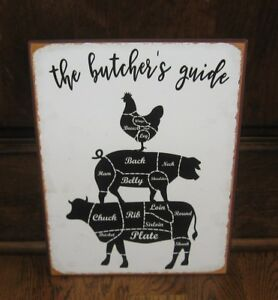 Butcher Chicken Pig Cow Sign Farmhouse Primitive French Country Kitchen Decor
