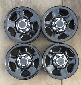 Set Of 4 16 Factory Black Steel 99 05 Wheels Rims Chevy Silverado Sierra 5129