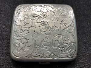 Gorgeous Sterling Cigarette Holder Case Ornate Floral 74 Grams Phi Chi Dd