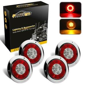 4 Red Amber 16 Led Round Stop Turn Tail Brake Truck Light W Stainless Ring 4pc