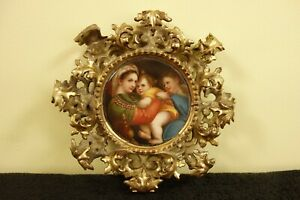 Antique Kpm Porcelain Plaque Raphael Madonna In Ornate Gilt Carved Wood Frame