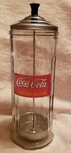Vintage Coca Cola heavy glass straw dispenser. (1993), Metal Lid