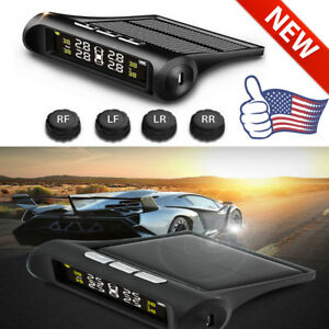 Solar Tpms Wireless Car Tire Pressure Lcd Monitoring System 4 External Sensors