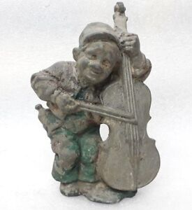 Vintage Old Metal Figure Sculpture Statue Violin Musician Joker Clown Jester