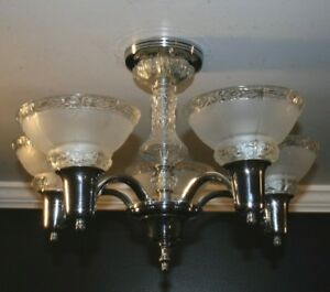 Antique Chrome Five Socket Frosted Glass Shade Art Deco Ceiling Light Fixture