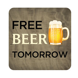 Free Beer Tomorrow Patio Sign Plaque Metal Outdoor Beach Pool Party Decor Sign