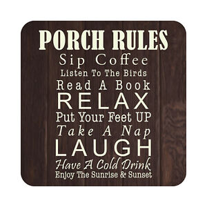 Metal Porch Rules Patio Sign Outdoor Beach Pool Bar Party Wall Decor Plaque