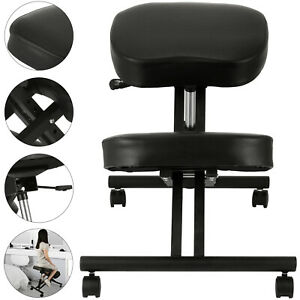 Ergonomic Kneeling Chair Wooden Adjustable Mobile Padded Seat And Knee Rest New