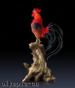 Pure Brass Hand Painting Carved Cock Chook Rooster Red Wine Wine Cabinet