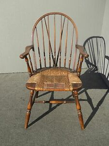 Vintage B S Co Solid Wood Rush Seat Rustic Windsor Arm Chair French Country