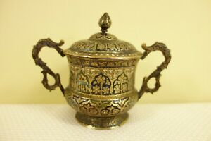 Antique Champleve Covered Jar Possibly Russian With Gilt Gold Interior