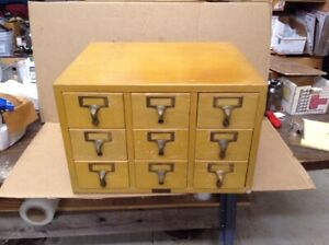 Blonde Oak Library File Cabinet 9 Drawers Gaylord Bros