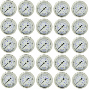 25 Pack Liquid Filled Pressure Gauge 0 200 Psi 2 Face 1 4 Back Mount