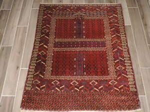 4x5ft Vintage Turkoman Enzi Wool Tent Door Rug