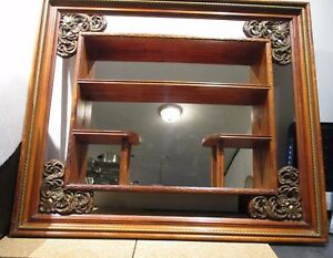 Mid Century Illinois Molding Shadow Box Mirror Wall Hanging 29 W 25 H