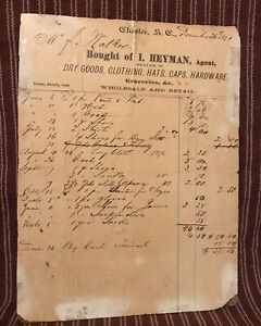 Antique Primitive 1870 General Store Ledger Receipt Mounted On Hardboard Aafa
