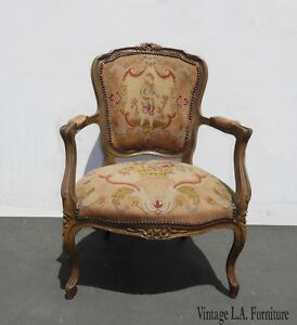 Vintage French Provincial Needlepoint Tapestry Rose Accent Chair