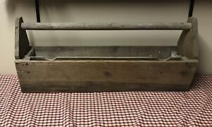 Vintage 34x 15x8 Wooden Carpenters Tool Box Primitive Carrying Tote Caddy
