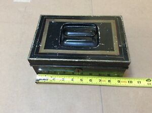 Vintage Black Metal Lock Box Tin Cash Deed Strong Stripped Scalloped Design Top