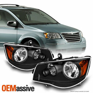 Black Fits 2008 2016 Chrysler Town Country Lh Rh Side Headlights Pair