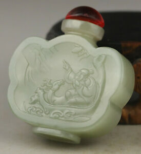 Chinese Natural Hetian Jade Hand Carved Dragon And Shouxing Snuff Bottle No G791