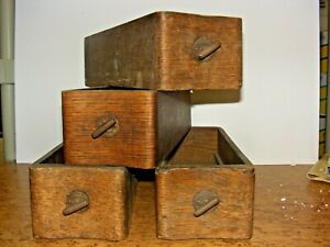 Standard Treadle Sewing Machine Parts 4 Antique Drawers Vintage Wood Wooden Lot