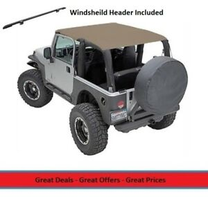 Extended Bikini Top And Windshield Header For 97 06 Jeep Tj Wrangler Tan