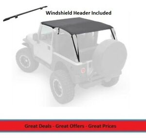 Extended Bikini Top And Windshield Header For 97 06 Jeep Tj Wrangler Black