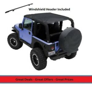 Extended Bikini Top And Windshield Header For 97 06 Jeep Tj Wrangler Mesh