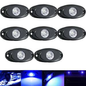 10x 9w Cree Led Rock Lights Blue For Jeep Off Road Truck Car Suv Atv Under Body