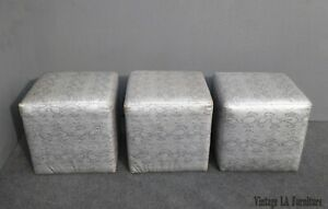 Three Vintage Contemporary Silver Snake Pattern Leather Square Ottomans Benches