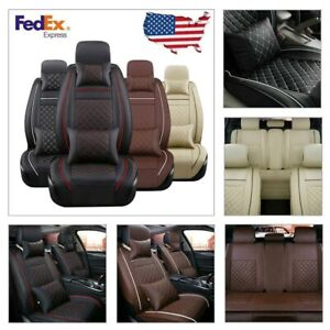 Us 100 Pu Leather Car Seat Cover Cushion Full Set 5seat Suv Front Rear W Pillow