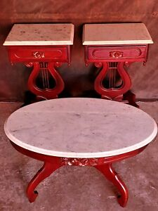 Vintage Victorian Marble Top Lyre Harp Side Tables 2 And Coffee Table 1